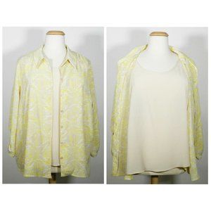 White Stag 4X (26/28) Yellow/Beige Two-Fer Blouse